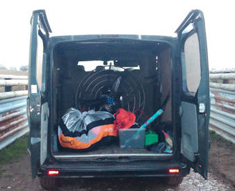 how to transport a paramotor in a van
