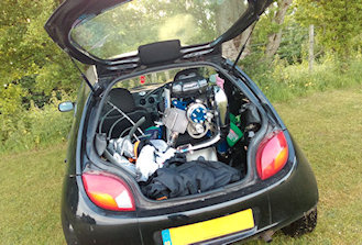 how to transport a paramotor in boot