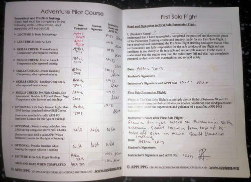 paramotor logbook for training